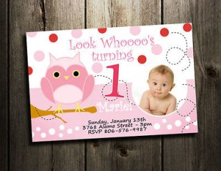 PARTY INVITATION CUSTOM 1ST BABY SHOWER INVITES   GIRL PINK   a1