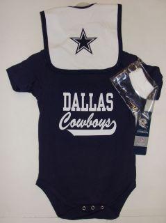 Dallas Cowboys Infant 3 Piece Navy Creeper, Bib & Booties Set