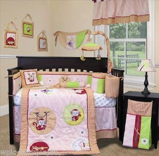 Custom Baby Bedding Girl Crib Set    Jungle Monkey   Pink 13 PCS