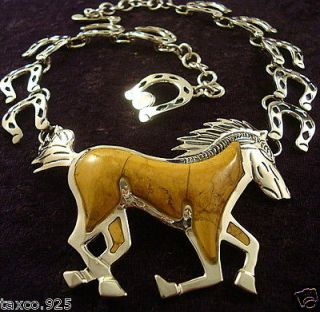 TAXCO MEXICAN STERLING SILVER YELLOW JASPER HORSE HORSESHOE NECKLACE