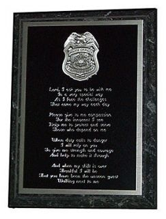 POLICE OFFICERS PRAYER PLAQUE   GREAT GIFT OR AWARD