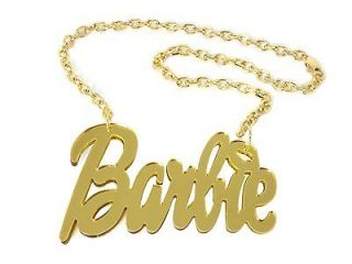 NEW NICKI MINAJ GOLD ARCRYLIC BARBIE PENDANT & 18 LINK CHAIN NECKLACE