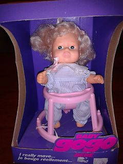 VINTAGE BABY GOGO GO GO DOLL 8 WITH WALKER BATTERY OPERATED NIB GRAND