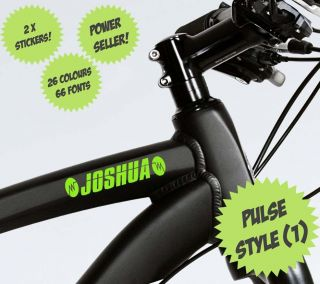 PULSE PERSONALISED CUSTOM NAME STICKERS Bike BMX Scooter Boys