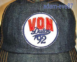 VON DUTCH BASEBALL CAP TRUCKER HAT ORIGINALS 92 LOGO IN DENIM FADDED