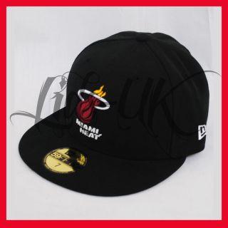 NEW ERA 59fifty NBA MIAMI HEAT BLACK FITTED FLAT PEAK BASEBALL HAT CAP