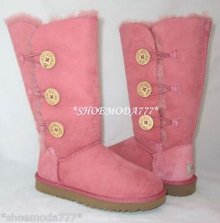 UGG Bailey Button Triplet Boots Rose Clay Pink New 5 6 7 8 UK 3.5 4.5