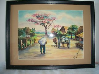 VINTAGE LATIN AMERICAN ART WATERCOLOR SIGNED M. NAVAS PAINTING VILLAGE