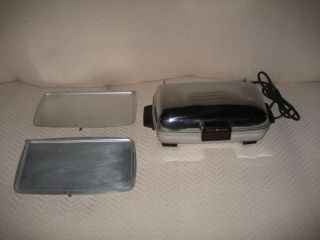 VINTAGE GENERAL ELECTRIC CHROME WAFFLE MAKER IRON **CLEAN**