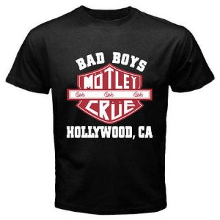 New MOTLEY CRUE Bad Boys Metal Rock Band Mens Black T Shirt Size S