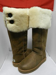NEW WOMEN UGG BOOT OVER THE KNEE BAILEY BUTTON BOMBER CHESTNUT 100%