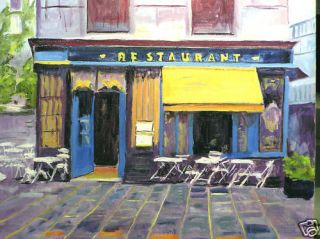 OIL LANDSCAPE FRANCE PARIS CAFE (BLUE)
