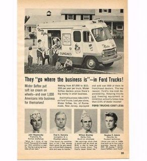 1961 Ford Mister Softee Ice Cream Truck Vintage Print Ad
