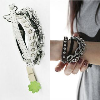 Punk Rock Multi layer Chain Stud Rivet Leather Bangle Bracelet Hot