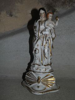 French antique religious statue virgin mary porcelain Paris late 19th