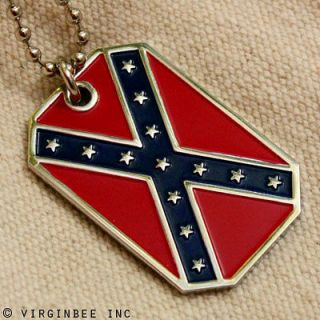 FLAG AMERICAN DIXIE REBEL PENDANT DOG TAG ARMY BALL CHAIN NECKLACE