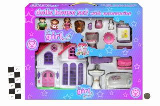 PINK DOLL HOUSE SET WITH ACCESSORIES FURNITURE 3 DOLLS+DOG BATH SINK