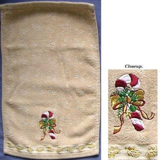 Christmas Hand Towel designed w/ Cand Cane. Winter (Christmas) Holiday