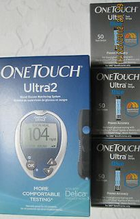 One Touch Ultra Blue 150 Test Strips, Free Glucometer