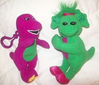 Barney Purple Dinosaur Plush Clip and Green Baby Bop Clip Plush