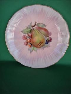 CLARICE CLIFF Fruit Design Cabinet/Wall Plate with Gold Rim C.1930S