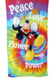 Pixar Mickey Mouse Peace Love Velour Beach Bath Towel Cotton 30x60