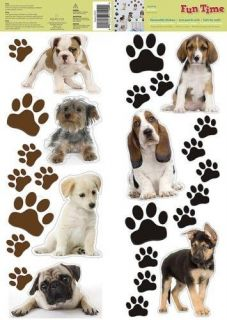 PUPPY DOG 27 Removable Wall Decals Puppies Paw Prints Room Decor