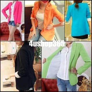 Sleeve One Button Candy Color Basic Suit Blazer Coat Jacket Outwear