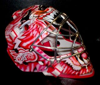 CURTIS JOSEPH RED WINGS UPPER DECK UD 6.5 MINI CROME CAGE GOALIE MASK