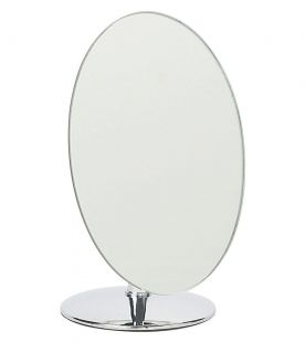 VANITY MIRROR ON CHROME PEDESTAL COSMETIC SHAVING BATHROOM BRAND NEW