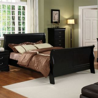 Solid Wood Louis Philippe II Dark Cherry Finish Bed Frame Set