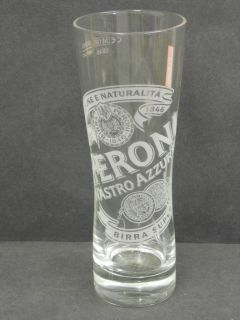 AZZURRO LAGER BEER PUB BAR HOME COLLECTOR HALF PINT GLASS M08 USED
