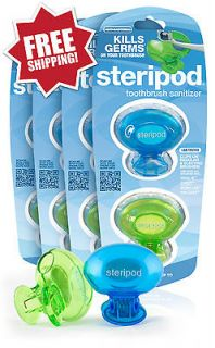 Steripod Clip on Toothbrush Sanitizer 8 Pack Green/Blue