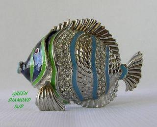 FISH ENAMELED FIGURINE BOX DECORATED WITH SWAROVSKI CRYSTALS