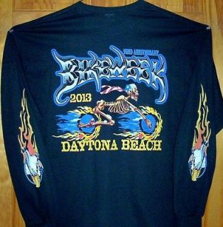 Black T Shirt SKELETON MAN 2013 Daytona Beach Bike Week Sz SM   5XL