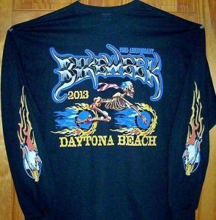 Black T Shirt SKELETON MAN 2013 Daytona Beach Bike Week Sz SM   5XL