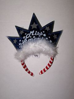 NWT JUSTICE GIRLS MISS AMERICA CROWN TIARA PARTY HAT RED WHITE BLUE