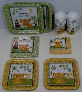 King Baby Shower Set 16 Dinner Dessert Plates Lunch Bev Napkins Cups