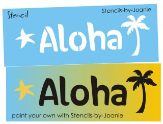 STENCIL Aloha Palm Tree Beach Cottage Lake Cabin Signs