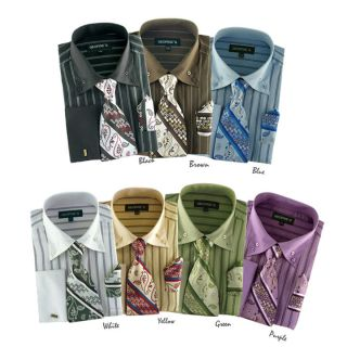 Mens Classic George Dress Shirt with Matching Tie and Handkerchief