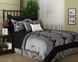 Wendy Silver/Black 7 piece Comforter Set bed in a bag KING / QUEEN NEW