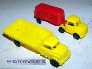Vintage Wannatoy Plastic Toy Tractor Trailer Trucks Lot of 2 Yellow