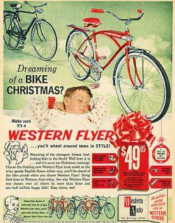 Schwinn Style Western Auto Flyer Christmas Ad Boys Girls Bicycle Photo