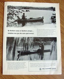 1964 Bell Telephone System Ad Northern Canoe or Southern Pirogue