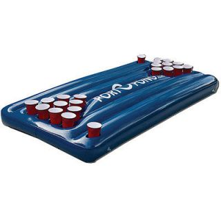 Inflatable Floating Pool Beer Pong Table   Blue   Water Drinking Games