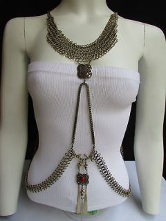 NEW WOMEN ANTIQUE GOLD METAL FULL BODY CHAIN CHOKER EGYPTIAN FASHION