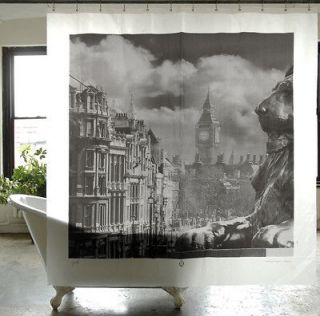 PEVA Waterproof Shower Curtain London City Skyline Big Ben 180cm x