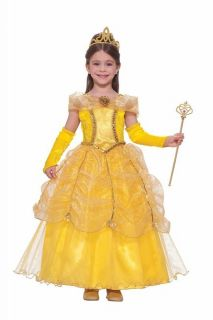 BELLE golden princess yellow ball gown kids girls halloween costume