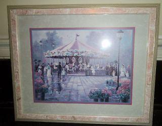 Bettie Hebert Felder Beautiful Carousel Print in Pink Marble Frame