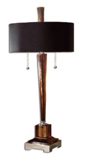 Thin Amber Glass Black Round Drum Shade Table Lamp